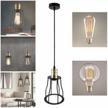 New Vintage Industrial Iron Lamp Socket Retro Droplight Holder Ceiling Pendant Lamp Cage for Room Light Decoration