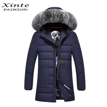Xinte Fashion 2016 Men Winter Down Jacket Coats with Real Fox Fur Trim Hooded Outwear Garment Slim Warm Removable Hood