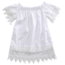 2017 Cute Toddler Kids Baby Girls Clothes Lace Top White Dress Party Dress Sunsuits Sundress Size 1-5T