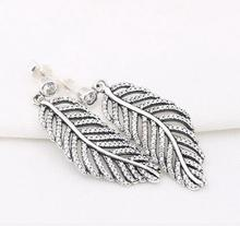 Real 925 Sterling Silver pave cz Oxidic high quality european style silver cz leaf long women earring(China)