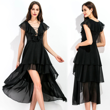 Make EBAY amazon sexy hollow out irregular bind hem chiffon dress dress # 8233 spot