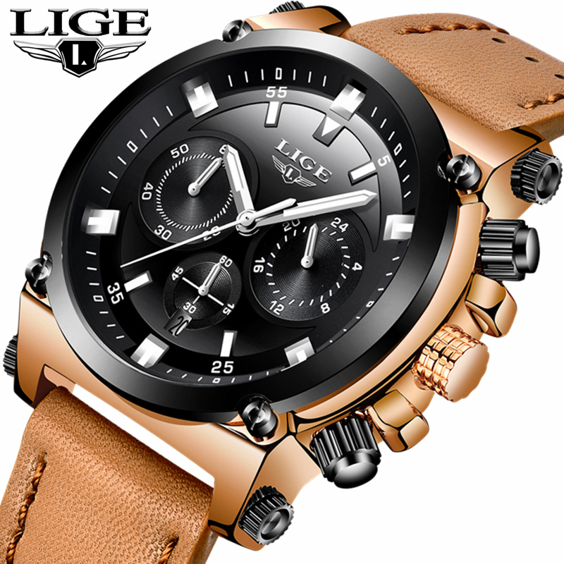 LIGE Mens Watches Top Brand Luxury 24 Hour Big Dial Design Quartz Watch Men Leather Waterproof Sports Watches Relogio Masculino<br>