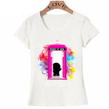 New fashion womens short sleeve Dr.Mon T-Shirt Doctor Who shirts casual short sleeve Tops pink design hipster girl Tees(China)