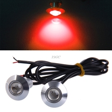 Car Eagle Eye Lamp DRL Daytime Running Light 23mm 12V LED Silver shell Red 1Pair APR11_17