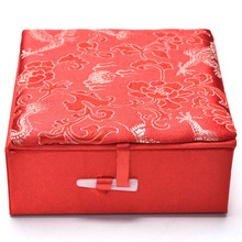 Luxury Cloth Chinese Traditional Embroidery Jewelry Box Necklace Earrings Rings Storage Packaging Wedding Party Gift