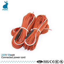 12K 25meters 59W 33ohm carbon fiber heating wire Heating cable Connected power cord Low cost silicone rubber heating wire