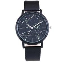 MINHIN Personality Marble Element Dial Quartz Wrist Watch Individuality Trendy Selling Student Watch Leather Band Couple Watch