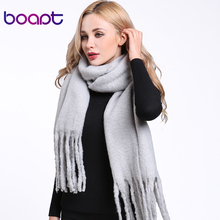 [boapt] mohair blanket flannel velvet scarf for women winter thick warm solid color men scarves female rectangle shawl wrap(China)
