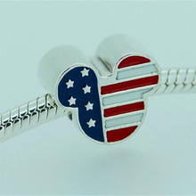 Spring 2015 New Authentic 925 Sterling Silver Beads USA Mouse Multicolor Enamel Charm Fits Pandora DIY Bracelet Jewelry FL145