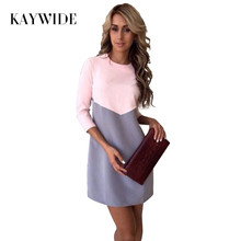 KAYWIDE 2017 Women Winter Dress Series Fashion Cute New Style Three Quarter Sleeve Patchwork Midi Dress For Women A16337(China)