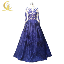 Rhine Real Sample Image Zuhair Murad Dark Blue Long Sleeves Lace Sexy See Through with Satin Formal Party Evening Dress