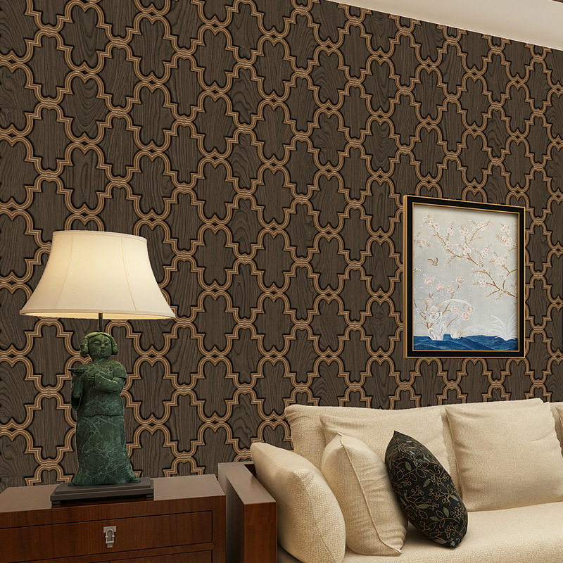 beibehang Modern simple geometric lattice pvc wallpaper three - dimensional geometric bedroom living room background wallpaper<br>