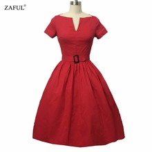 ZAFUL Women Rockabilly Dress PinUp Hepburn V-neck Ball Gown Tunic Swing Vintage Woman Dresses Female Vestidos 50s 60s With Belt