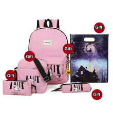 5 Sets Student Backpack Animal Design Printing Schoolbag Girls Boys Canvas Rucksack School Backpacks For Teenage Students Bags