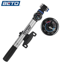 BETO Bicycle Pump Portable Mini Ultra-ligh Aluminum Alloy Pump High Pressure Telescopic Cylinder With Barometer 100PSI for AV/FV