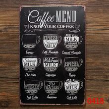 Rereo Coffee metal tin sign cafe wall decor , Vintage metal painting coffee menu poster art plaque coffee decoration