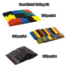 127 pz/lotto di Calore Shrink Tubing 7.28 m 2:1 Nero Auto Tubo Manicotto del Cavo Assortimento Wrap Filo di Isolamento Materiali Kit FAI DA TE 328 pz(China)