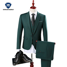 2017 Wedding Suits for Men Dark Green Suit Groomsmen Tuxedo Party Dress Stage Suit Single Button Gentleman Style Business Suit(China)