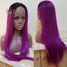 Cheap Long Silky Straight Dark Roots Ombre Purple Synthetic Lace Front Wig Glueless Heat Resistant With Baby Hair Black Women