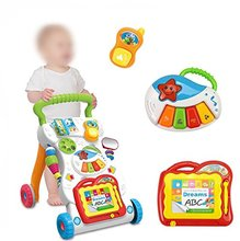 Multifunctional 2 In 1 Baby Cart Walker Toy With Wheels Stroller Baby Early Education Puzzle Music Game Folding Trolley