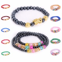 1pc/bag 6mm Brave Troops Beads Bangles 4mm Glass Jewelry pulseras Fashion Bead Charm Bracelet For Jewelry Birthday Women Men Gif