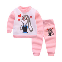 winter kids Baby Clothes 2017 new Thick warm Boys Clothes Set Cartoon Long sleeves Baby girls Clothing 2pcs Infant Clothes Set(China)