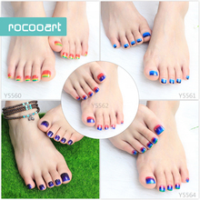 Fashion Auto Sticker Toe Nail Art Foil Stickers Glitter Gradient Rainbow Color Manicure Adhesive Decal Toe Nail Art Wraps(China)