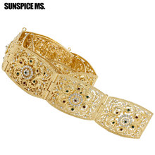 New Elegent Hollow Flower Rhinestone Metal Waist Chain Body Jewelry Gold-Color Turkish Bohemia Square Button Belt Belly Chain(China)