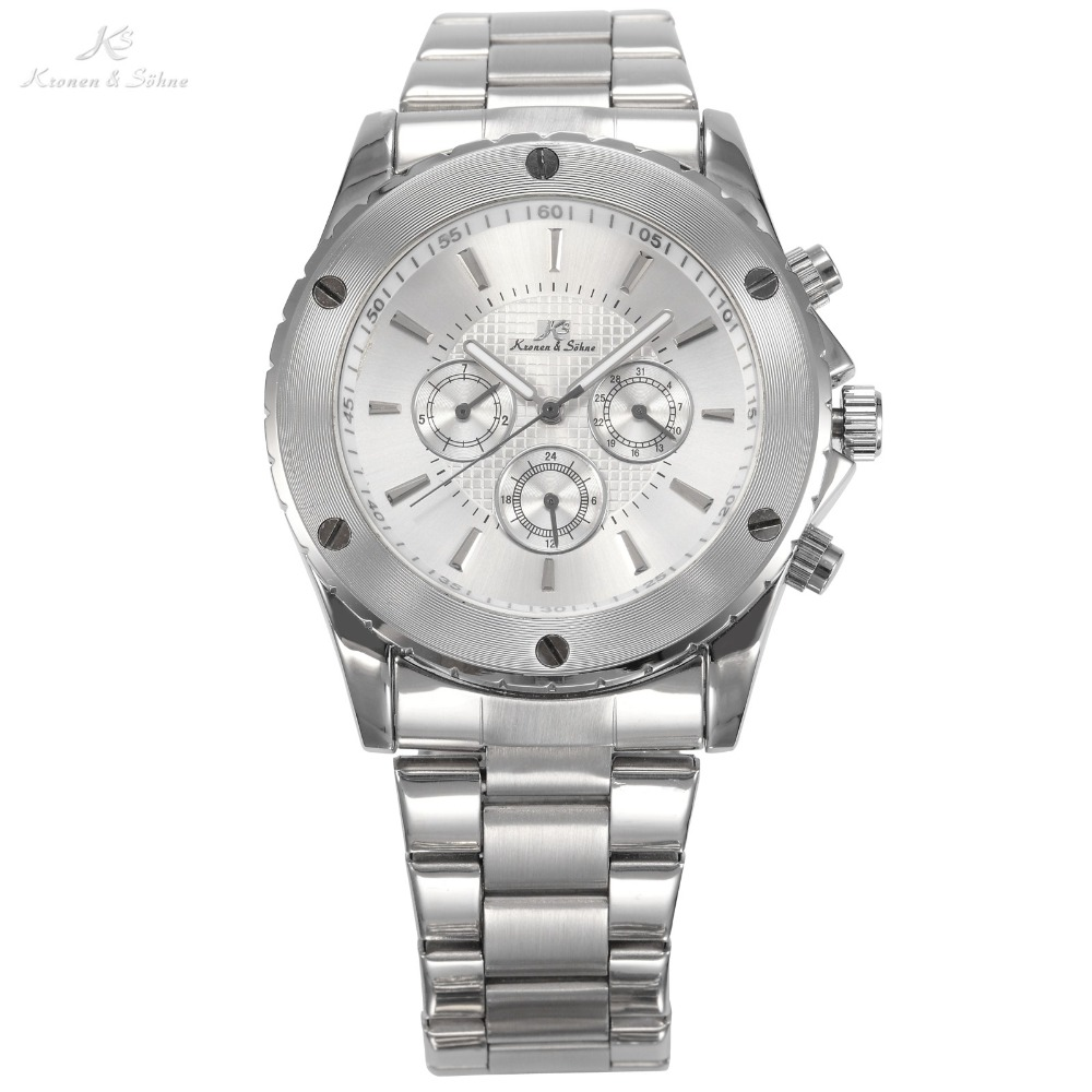 KS Luxury Brand Stainless Steel Silver Case Auto Date Automatic Mechanical Male Self Wind Clock Mens Business Wristwatch /KS166<br>