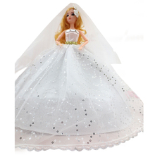 1 Pc Baby Girls Beautiful Dolls Sleeveless Wedding Dress Princess Handmade Diamonds Doll Dress Up Clothes Accessories Toys Gifts(China)