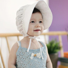 Princess Baby Girl Hat Summer Lace-up Cotton Baby Bonnet Enfant Lace Sun Cap for 0-12M Pink/White