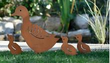 Free shipping,4pcs/lot,European style retro iron rust retro duck garden plug in a family of four.garden decorations
