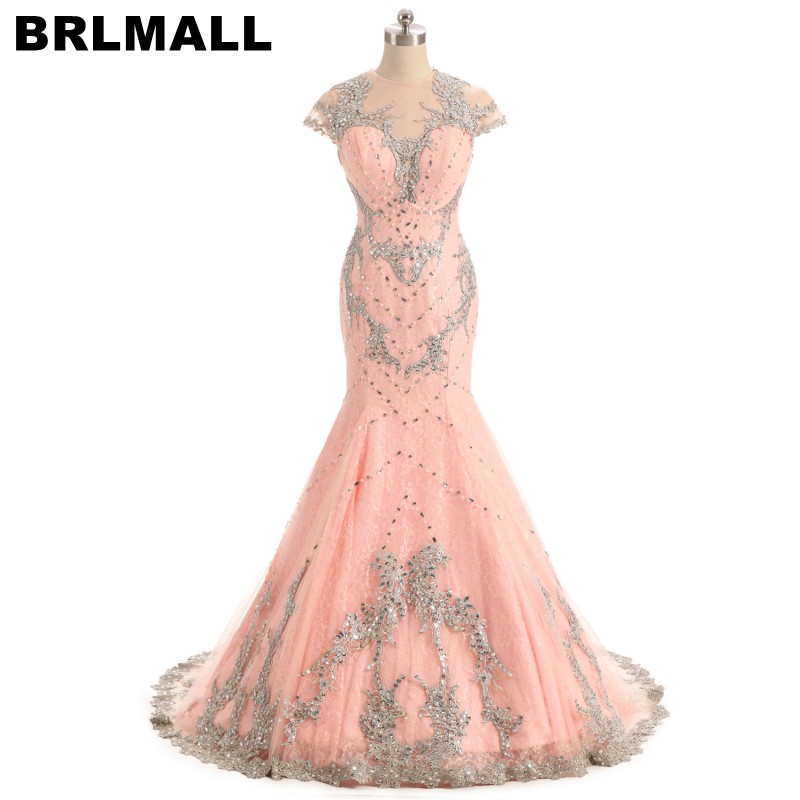 BRLMALL Gorgeous Nude Pink Prom Dress Lace Appliques Beaded Cap Short Sleeves Mermaid Evening Dresses Formal Gowns