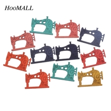 Hoomall 50PCs Mixed Color Sewing Machine Pattern Wooden Buttons Two Holes Scrapbooking Crafts Decoration Sewing Accessories