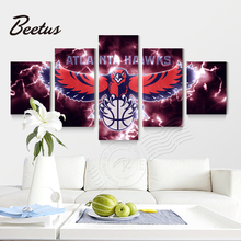 5 panel Wall Art Sport Game Atlanta Hawks Basketball Logo Poster Canvas Art Painting For Kitchen Home Decoraction Print Unframed