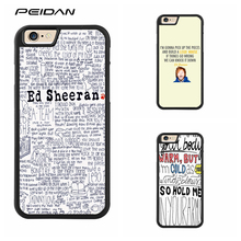 PEIDAN ED SHEERAN SONG QUOTES Full cover cell phone case for iphone X 4 4s 5 5s 6 6s 7 8 6 plus 6s plus 7 plus 8 plus #ee166(China)