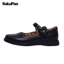 KALUPAO Newest Spring Summer Princess Girls Shoes Kid Party Dress Shoes Fashion Flowers Black Leather School Shoes For Children