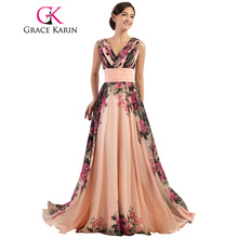 Grace Karin Sexy Backless Flower Long Evening Dress Deep V Neck Floral Formal Dresses Chiffon Robe De Soiree Party Gowns 2017