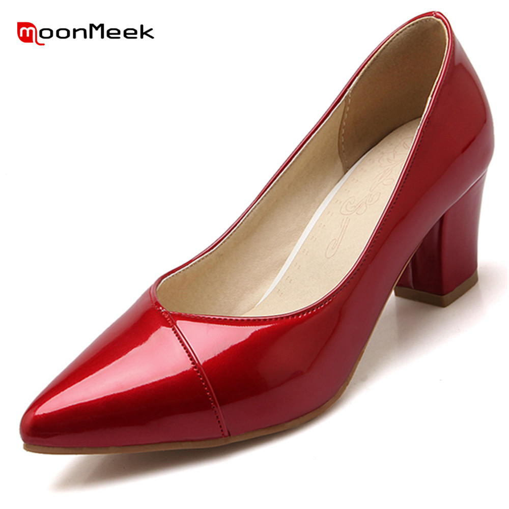 MoonMeek new fashion 2018 hot spring autumn women shoes sexy prevail gentle pointed toe square high heel female pumps<br>