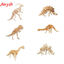DIY Kids 3D Wooden Puzzles dinosaur Model handmade Assembling Building Kits IQ Educational Toys for children gifts for kids