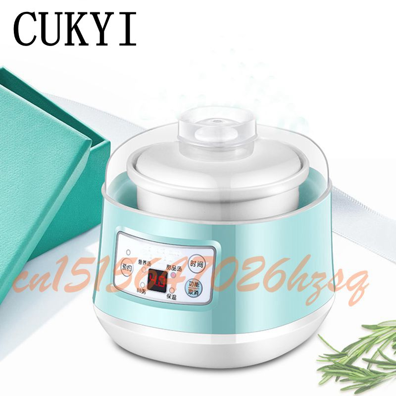 CUKYI Mini Multifunctional cooker electric 140w Slow Cookers timer control stew foods Ceramic liner Blue cooking gruel<br>