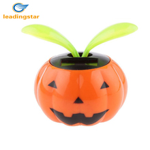 LeadingStar Automobile Decoration Cute Solar Powered Pumpkin Shape Flowerpot Flip Flap Leaf Dancing Car Toys Gifts zk15(China)