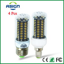 4Pcs 4014 SMD LED Corn Bulb E27 E14 LED Lamp 38 55 78 88Leds is 220V, 140leds is AC 85-265V Spotlight Lampada Smart Power IC