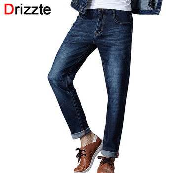Drizzte Men Jeans Plus Size 28 to 46 Trendy Tapered Stretch Slim Jeans Blue Denim Jean Trousers Pants