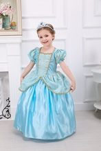 Snow Queen Cinderella Cosplay Costume Summer Fancy Party Dress Kids Graduation Party DressBlue Puff Sleeve Party Costume 4-10Y