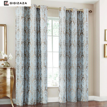 Firefly Jacquard Window Curtains Heavy Fabric High Quality with Silver Wire Embed 65% Shading for Living room Floral Blue Color(China)