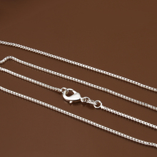 High quality 925 stamped silver plated 1mm box Chain necklace 16inch-24inch Choice, fashion chain necklace jewelry gift bag C007