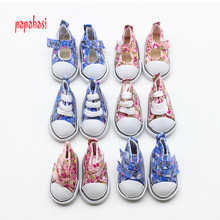 Papabasi 1pair 5CM Canvas Doll Shoes for 1/3 Scale Dolls,Lovely BJD Doll Boots for Russian Doll Accessories Free Shipping