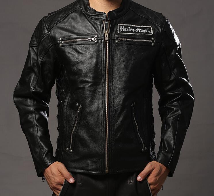 Harley style skulls genuine leather motorcycle jacket men fashion biker jacket male men's cowskin leather jacket coat winter