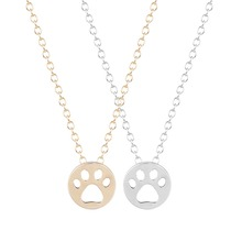 QIAMNI Animal Lover Gift 10pcs Dog Paw Print Dye Cut Coin Shaped Animal Necklace Unique Minimalist Jewelry for Girls and Women(China)